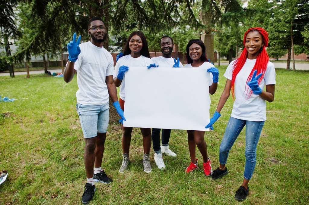 young volunteers smiling